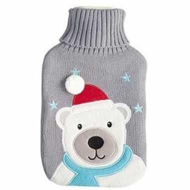 Warme kruik kerst ijsbeer grijs gebreide hoes 2 liter