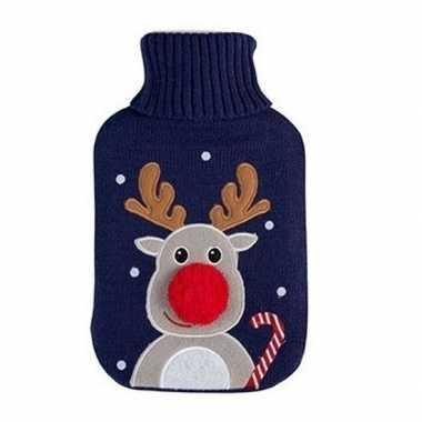 Warme kruik kerst rendier blauw gebreide hoes 2 liter