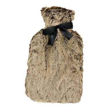 Warme kruik met bruine pluche 1,5 liter