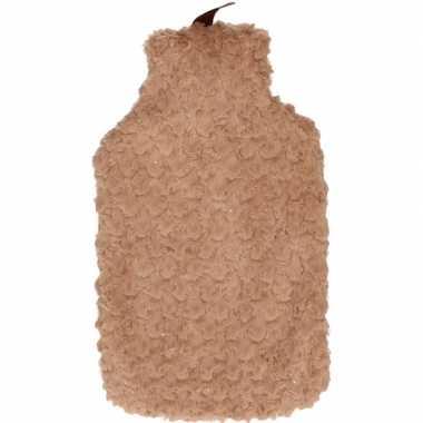 Warme kruik met bruine pluche hoes 2 liter