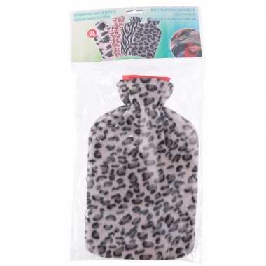 Warme kruik met fleece hoes luipaard print grijs 2 liter