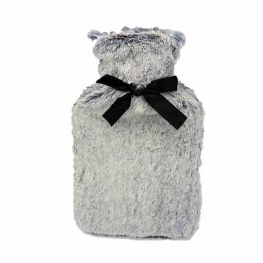 Warme kruik met grijze pluche 1,5 liter