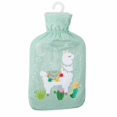 Warme kruik met lama/alpaca print mintgroen 2 liter