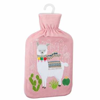Warme kruik met lama/alpaca print roze 2 liter