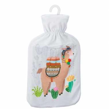 Warme kruik met lama/alpaca print wit 2 liter