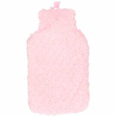 Warme kruik met roze pluche hoes 2 liter