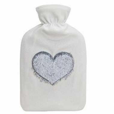 Warme kruik met witte fleece hoes met blauw hart 2 liter