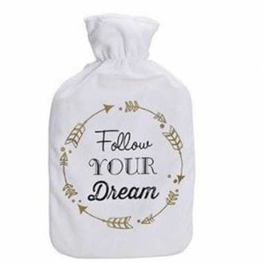 Warme kruik met witte fleece hoes met tekst follow your dream 1 liter