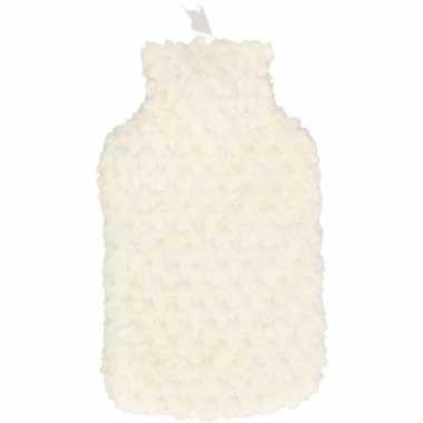 Warme kruik met witte pluche hoes 2 liter