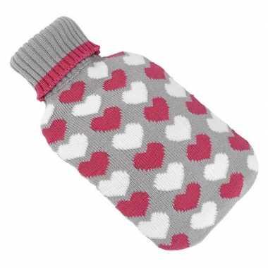 Warmwarme kruik met hartjes patroon grijs/rood/wit