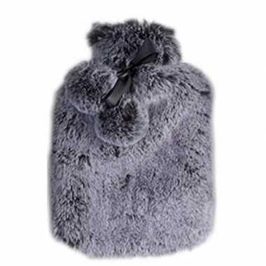 Warmwarme kruik met nep bont hoes graniet grijs 2 liter