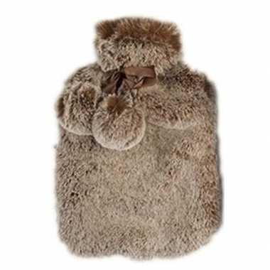 Warmwarme kruik met nep bont hoes terra bruin 2 liter