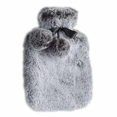 Warmwarme kruik met nep bont hoes zilver grijs 2 liter