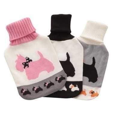 Warmwarme kruik met wit/roze honden hoes 2 liter